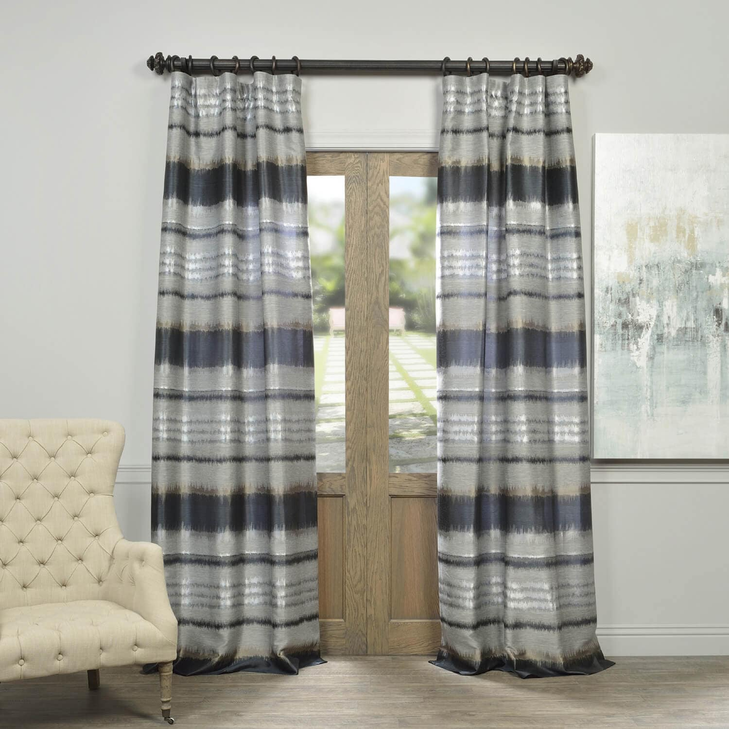 Grey Horizon Faux Silk Jacquard Curtain For 2018 Promo Codes Discount Directory