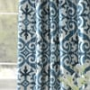Iron Gate Blue Printed Faux Silk Taffeta Blackout Curtain